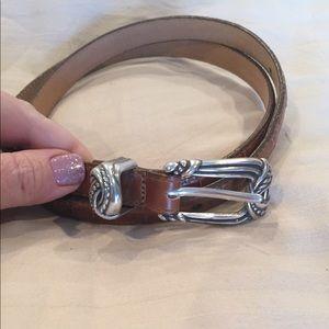 Large Brighton thin light brown leather belt